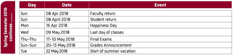 Calendar Zu : University calendar