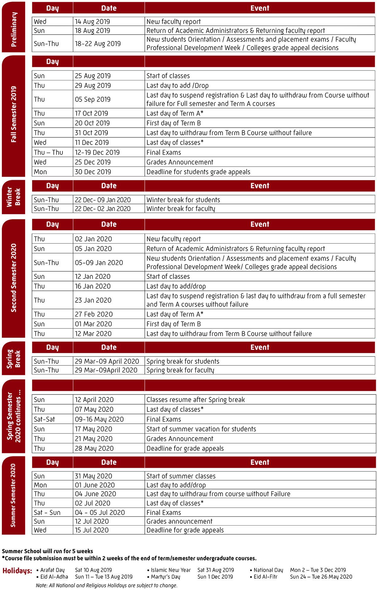 University Calendar 2019 2020